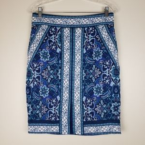 Loft Blue Textured Stained Glass Pencil Skirt, 6